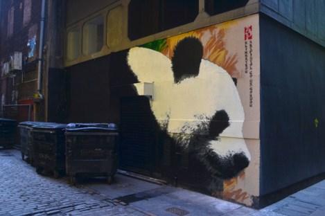 Panda down the lane. Mitchell Lane, Glasgow city centre. (Photo: Discover Scotland - www.discoverglasgow.org)