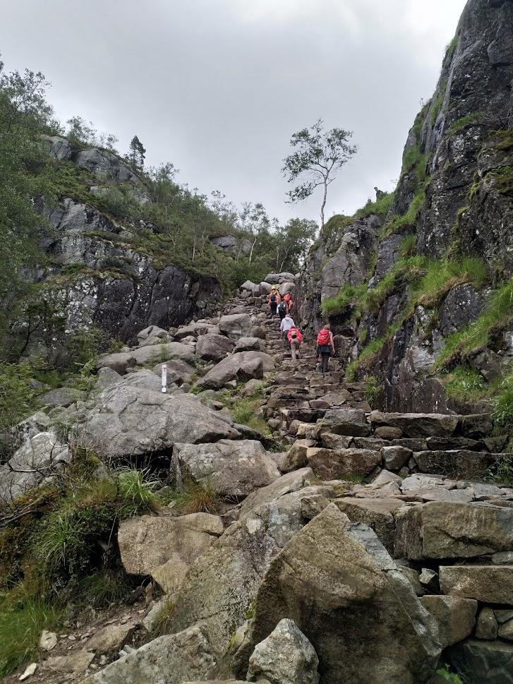 The mountain walk to the Preikestolen