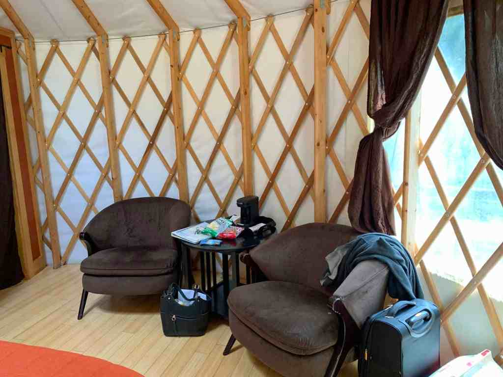 seating area in yurt