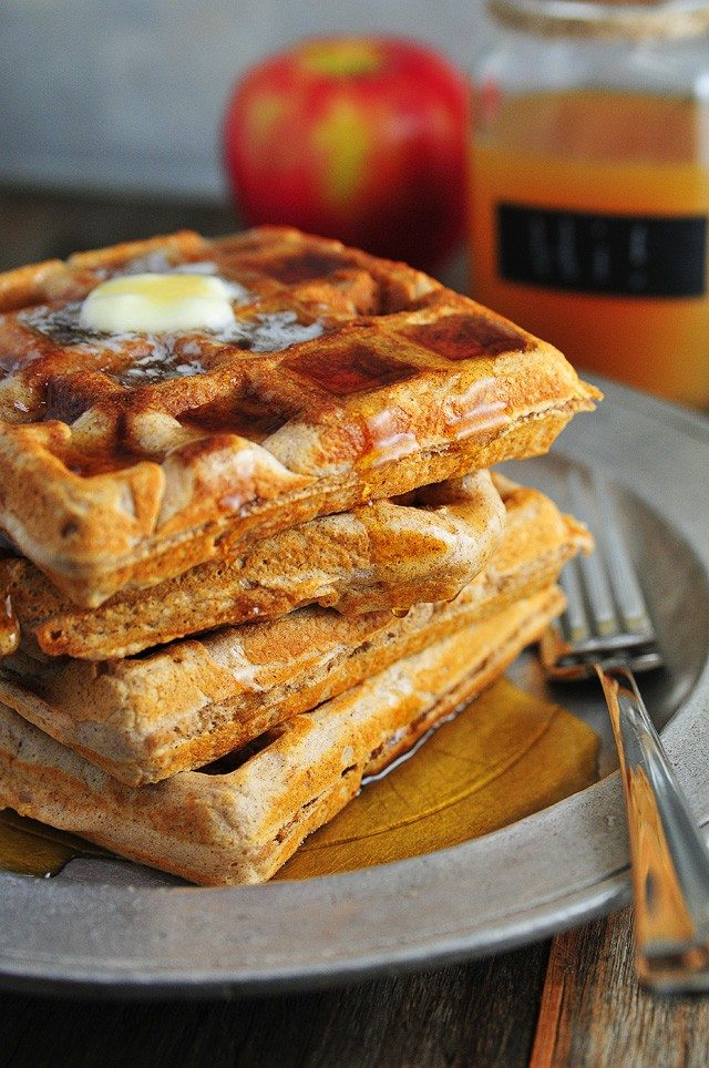 Apple Cider Waffles Recipe | Add a Pinch - Apple cider waffles are a great addition to your fall and winter breakfast routine. Serve these waffles with warm maple syrup and apple cider for the ultimate breakfast!