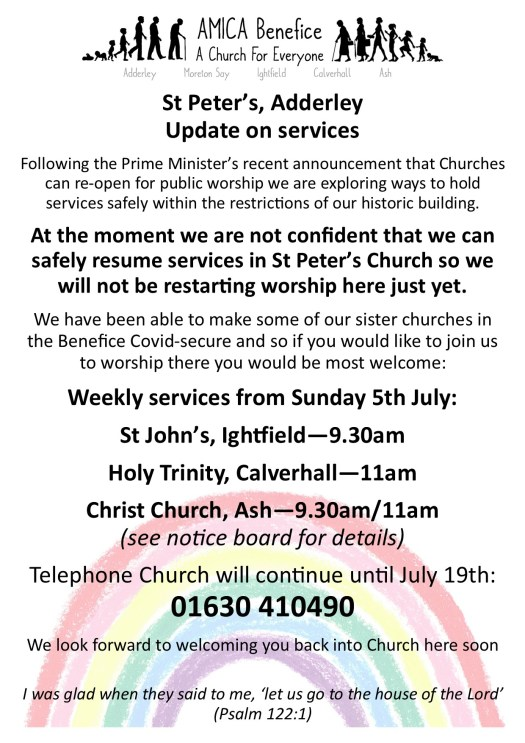 Flyer for update on services at St Peter's Church