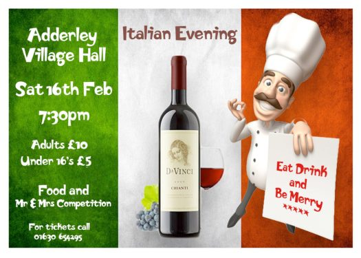 Advert for Italian Evening at the Village Hall on Saturday 16th February 2019