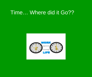Time… Where did it Go--