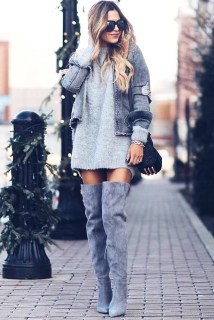 Adorable Winter Outfits Ideas Boots Skirts29