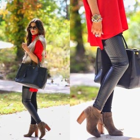 Popular Winter Outfits Ideas Leather Leggings01