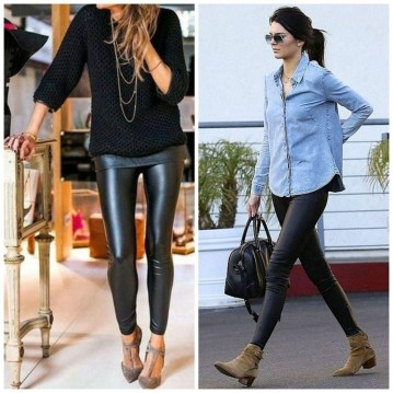 Popular Winter Outfits Ideas Leather Leggings15