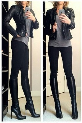 Popular Winter Outfits Ideas Leather Leggings24