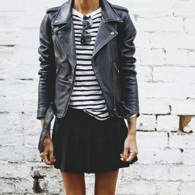 Pretty Winter Outfits Ideas Black Leather Jacket04