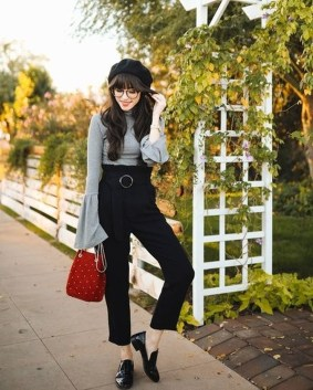 Pretty Winter Outfits Ideas High Waisted Pants09
