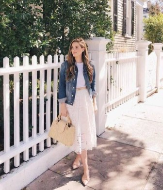 Wonderful Midi Skirt Outfit Ideas For Spring And Summer 201805