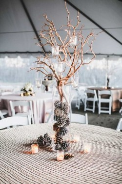 Classy Winter Wonderland Wedding Centerpieces Ideas17