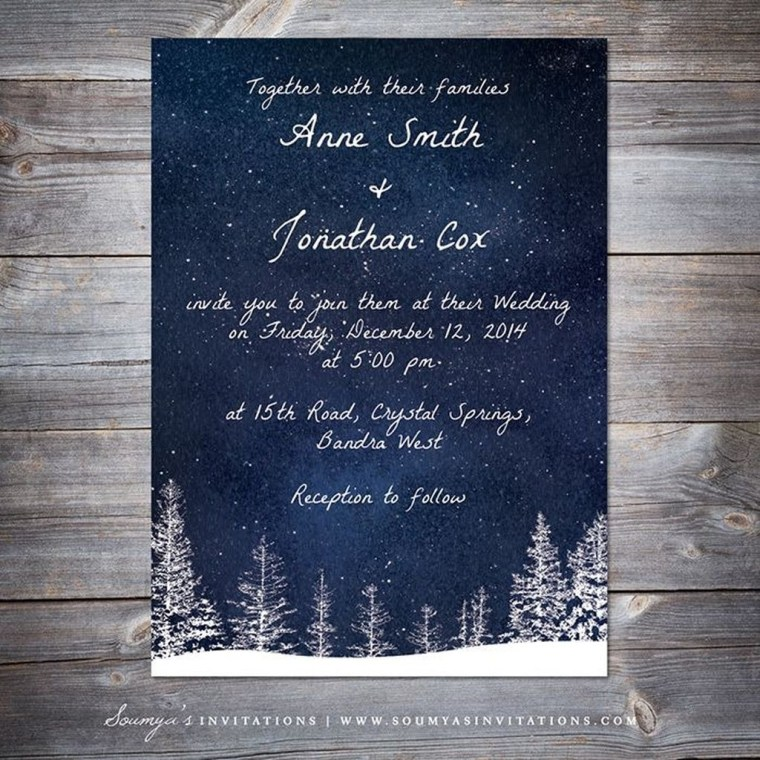 Popular Winter Wonderland Wedding Invitations Ideas01