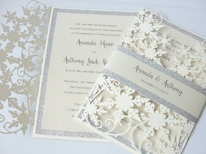 Popular Winter Wonderland Wedding Invitations Ideas12