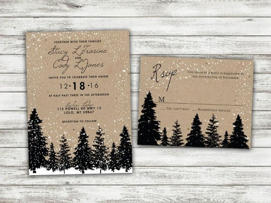 Popular Winter Wonderland Wedding Invitations Ideas37