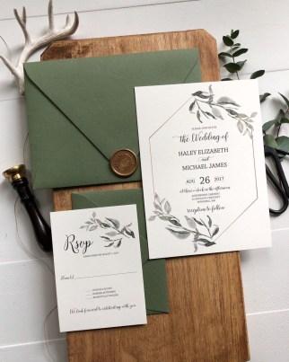 Romantic Rustic Winter Wedding Invitations Ideas30