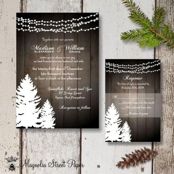 Romantic Rustic Winter Wedding Invitations Ideas35