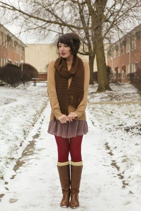 Affordable Winter Skirts Ideas With Tights08