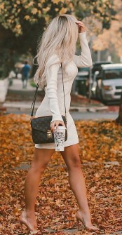 Perfect Winter White Dresses Ideas With Sleeves32