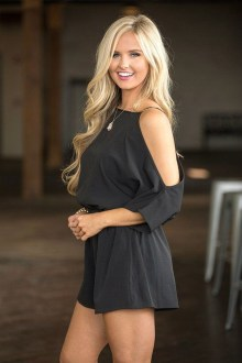 Adorable Black Romper Outfit Ideas32