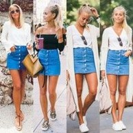 Elegant Denim Skirts Outfits Ideas For Spring21