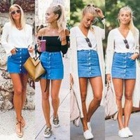 Elegant Denim Skirts Outfits Ideas For Spring21