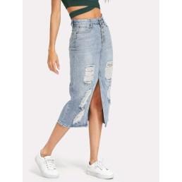Elegant Denim Skirts Outfits Ideas For Spring31