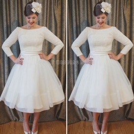 Gorgeous Tea Length Wedding Dresses Ideas19
