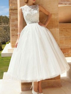 Gorgeous Tea Length Wedding Dresses Ideas37