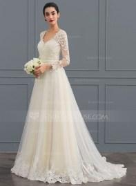 Pretty V Neck Tulle Wedding Dress Ideas For 201921