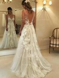 Pretty V Neck Tulle Wedding Dress Ideas For 201939