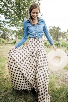 Delicate Polka Dot Maxi Skirt Ideas For Reunion01