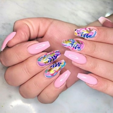 Unusual Watercolor Nail Art Ideas That Looks Cool28