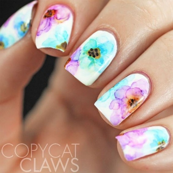 Unusual Watercolor Nail Art Ideas That Looks Cool36