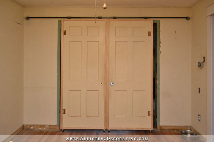 My Finished Sliding Barn Door-Style French Doors