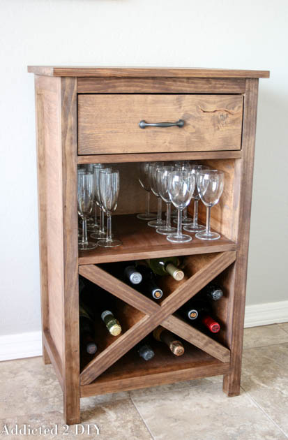diy wine cabinet with printable plans