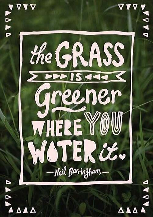 Inspiration Typography Picture Quote Grass is greener