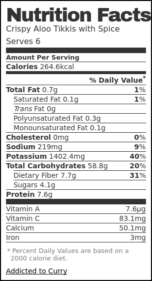 Nutrition label for Crispy Aloo Tikki