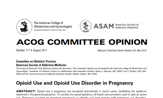 ACOG Guidance for Opioid Treatment Options