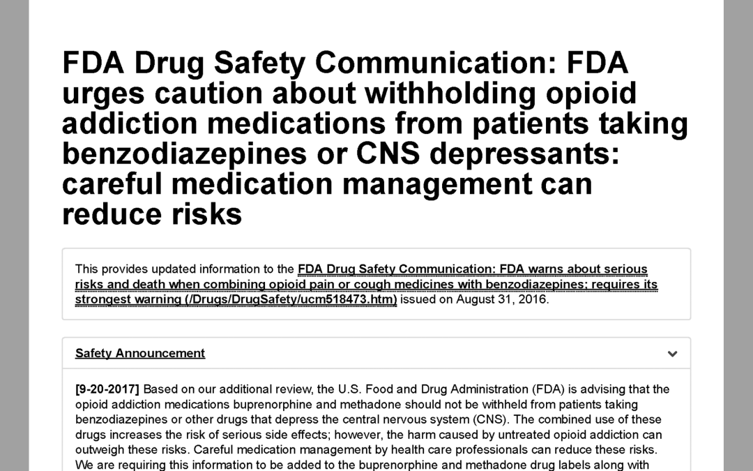 Important FDA Drug Safety Announcement