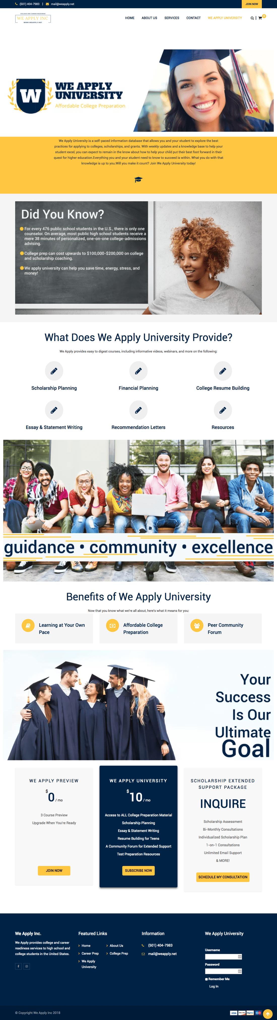 We Apply University website design by Addie Fisher - Best Website designs