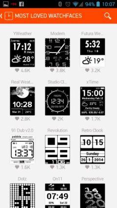 Pebble Appstore Watchfaces