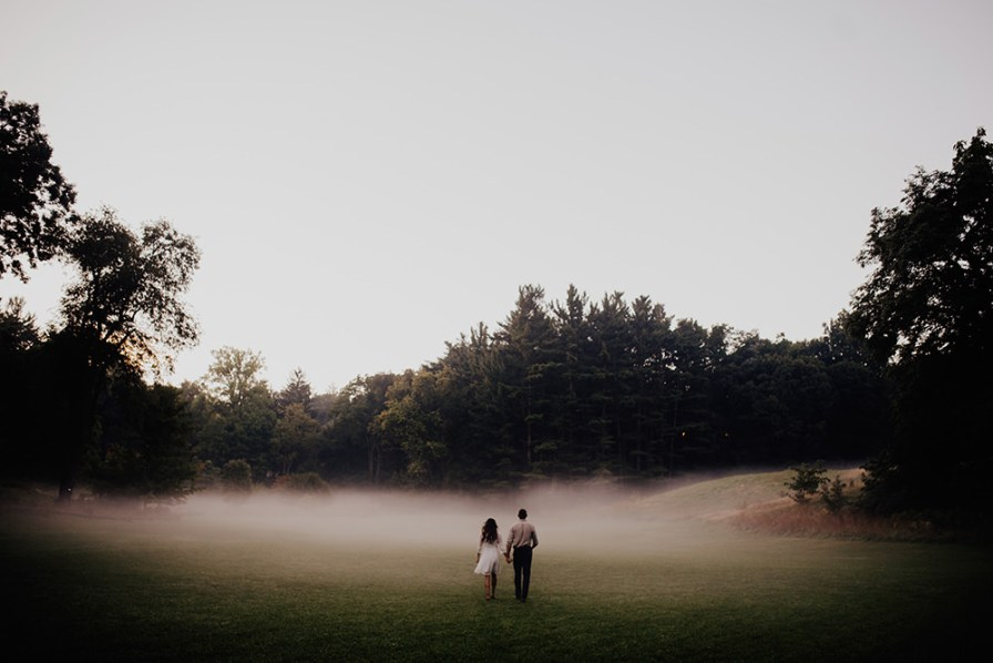 foggy morning Ann Arbor Michigan engagement session