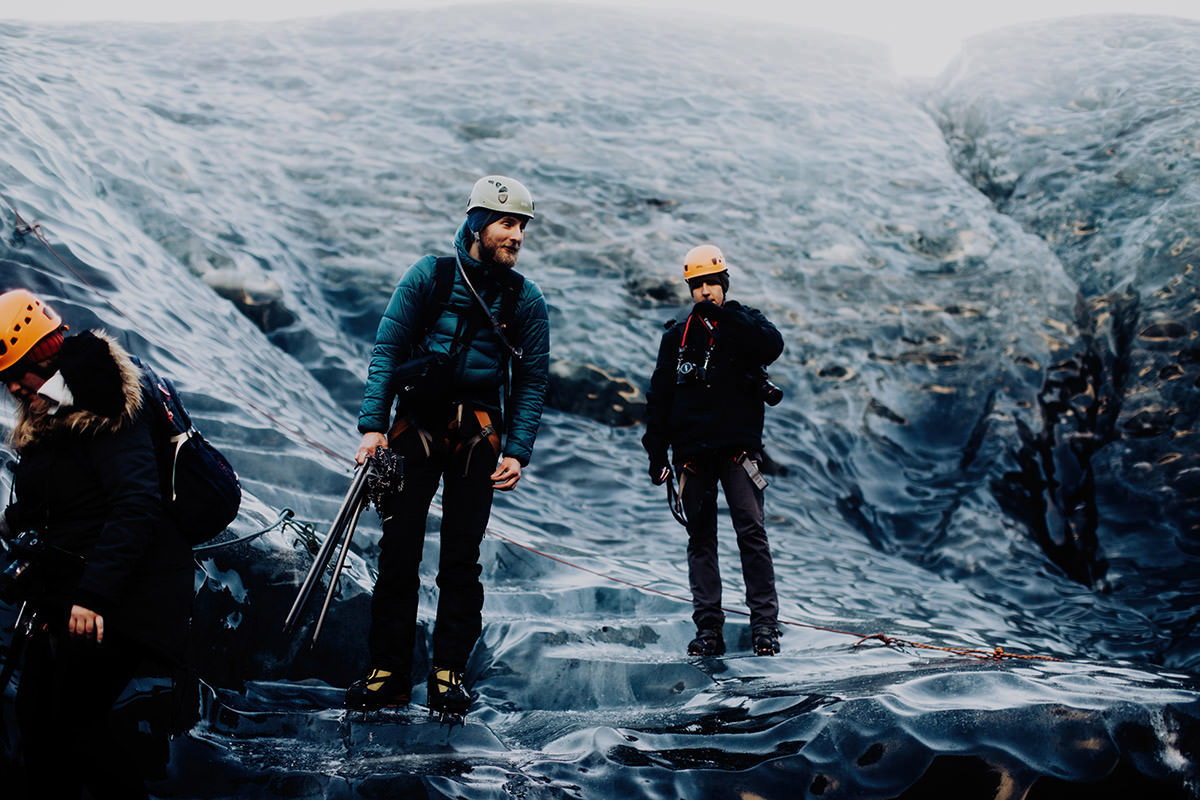 two guys ice picking glacier iceland