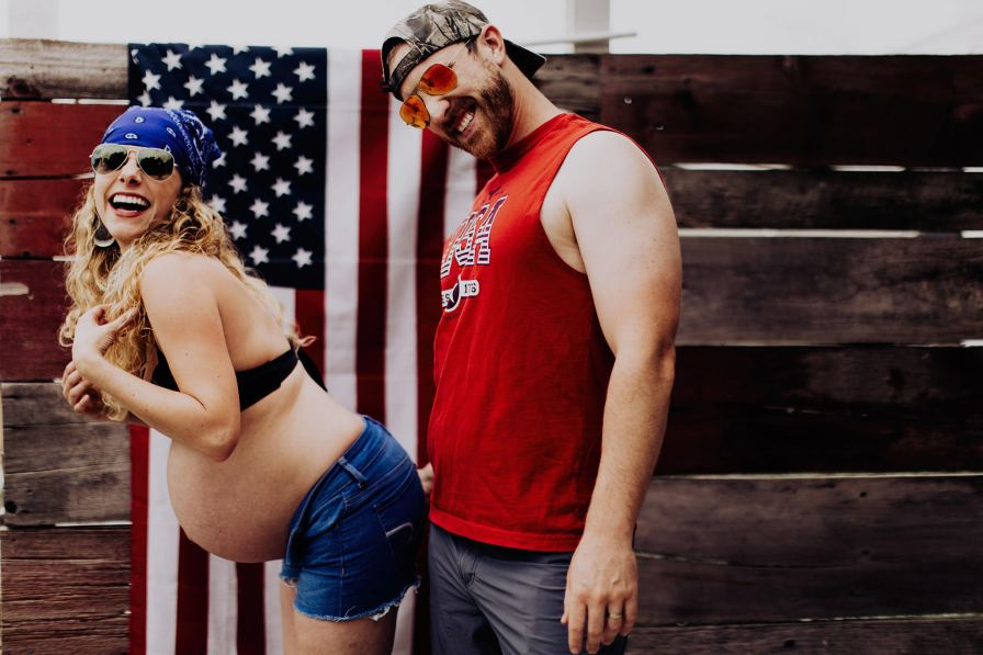 pregnant girl and white trash guy hitting it from behind