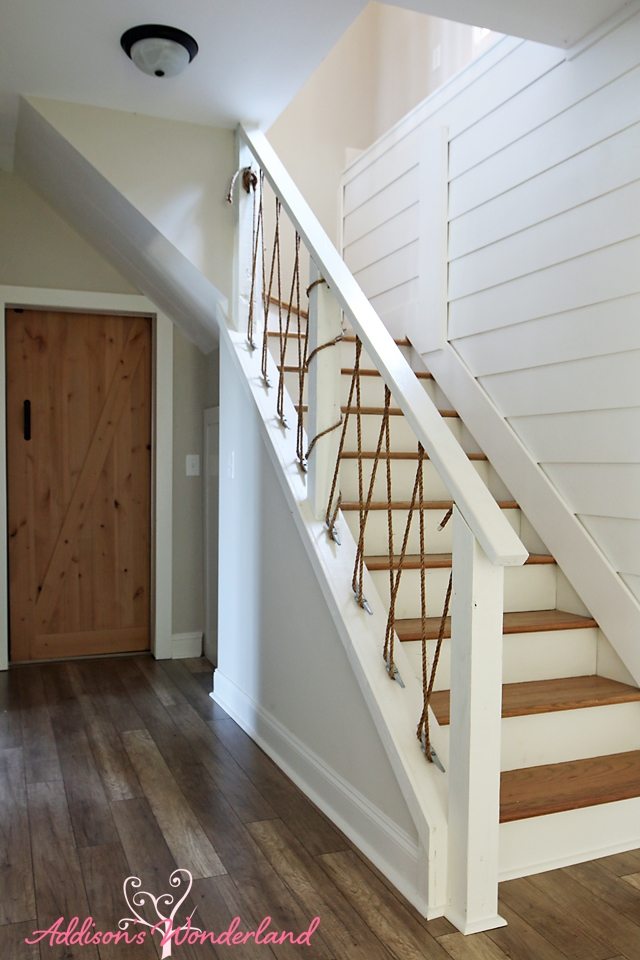 Lakehouse White Shiplap Wall Nautical Rope Stair Railing Barn Door | Nautical Rope Stair Railing | Ship Rope | Closed Staircase | Cottage Style | Banister | Minimalistic