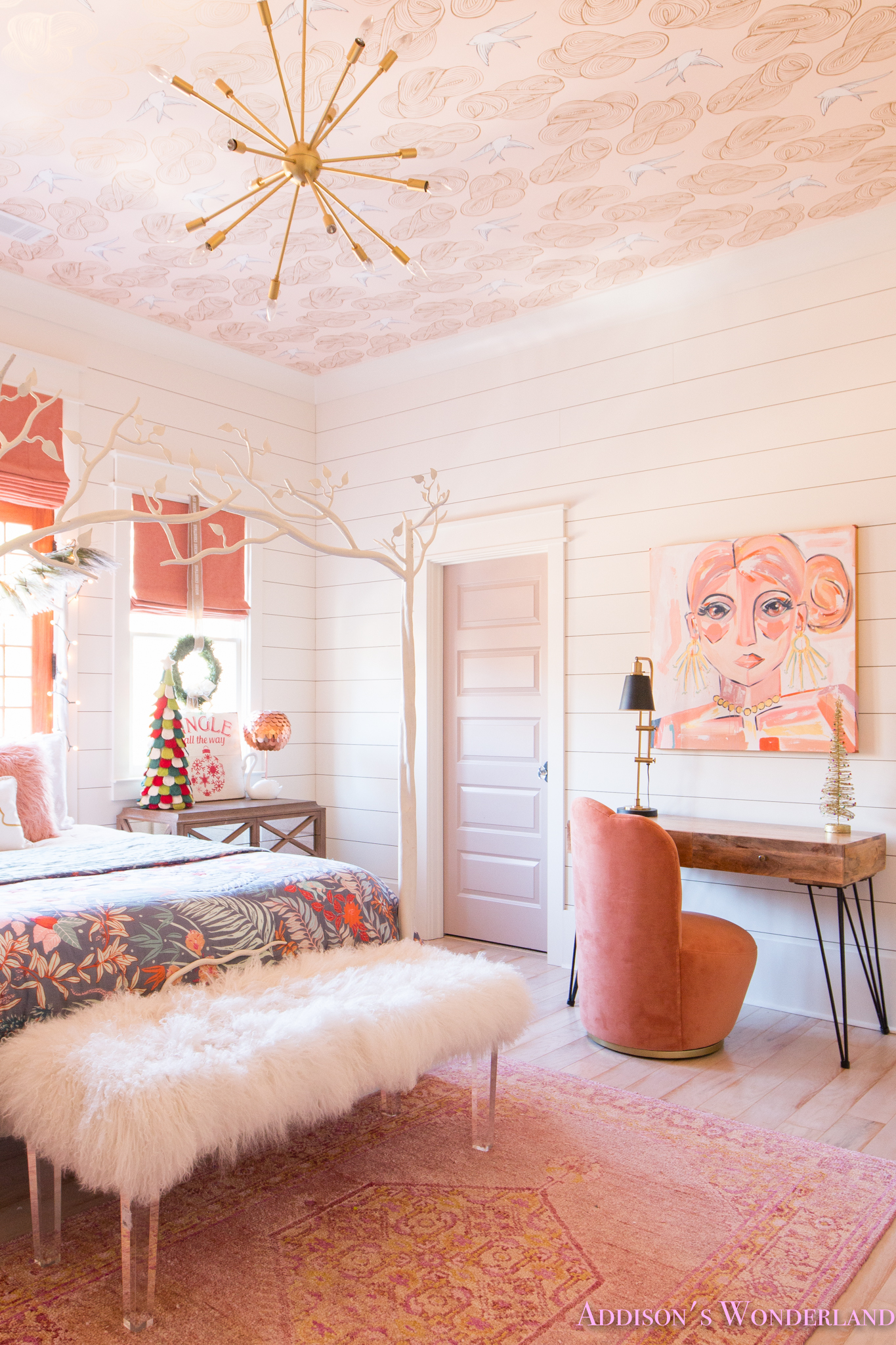 A Little Christmas Decor in Addison's Coral Girl's Bedroom ... on Beautiful:9Ekmjwucuyu= Girls Room Decoration  id=35177