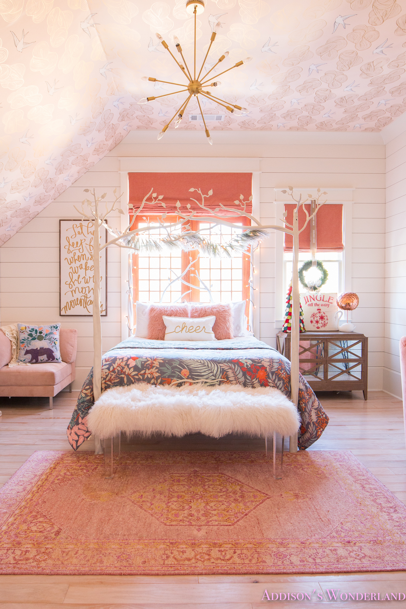 A Little Christmas Decor in Addison's Coral Girl's Bedroom ... on Girls Room Decoration  id=40023