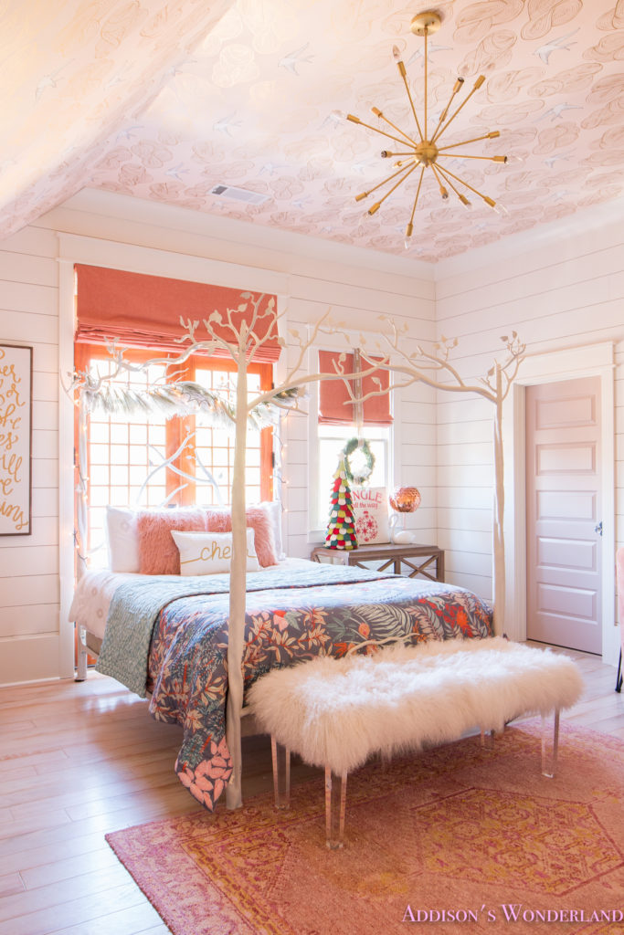 A Little Christmas Decor in Addison's Coral Girl's Bedroom ... on Girls Room Decoration  id=97372