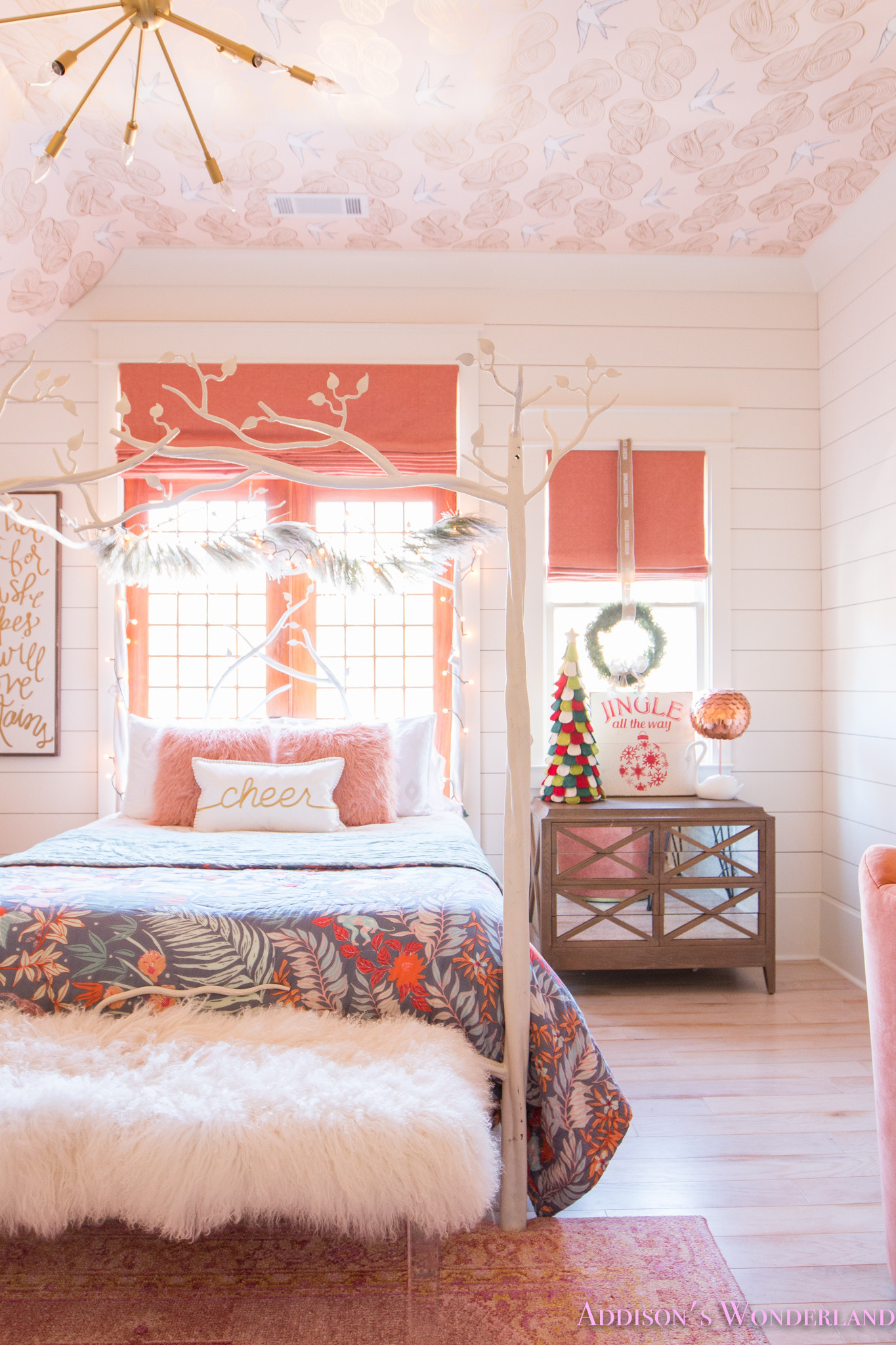 A Little Christmas Decor in Addison's Coral Girl's Bedroom ... on Girls Room Decoration  id=18328