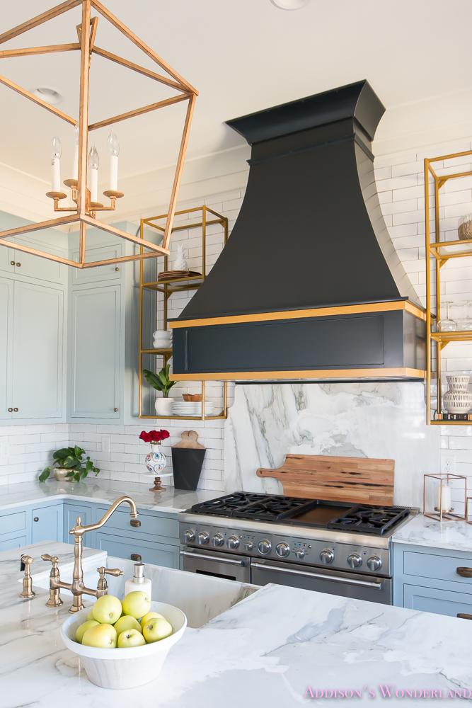 Grey White And Blue Kitchen